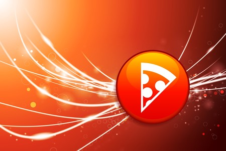 Pizza Button on Red Abstract Light Background Original Illustration Stock Photo