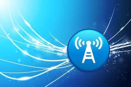Radio Torenknoop op Blauwe Abstracte Lichte Originele Illustratie Als achtergrond