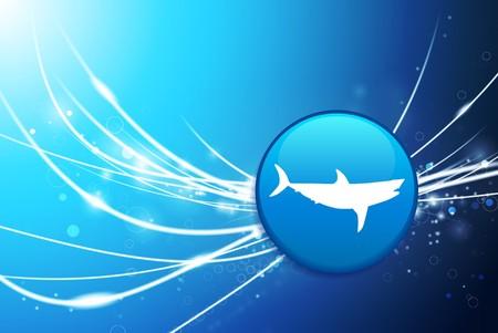 Shark Button on Blue Abstract Light Background Original Illustration illustration