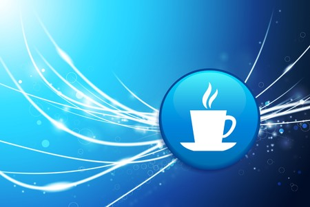 Coffee Button on Blue Abstract Light Background Original Illustration illustration