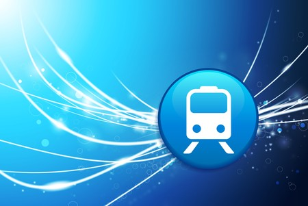 Train Button on Blue Abstract Light Background Original Illustration
