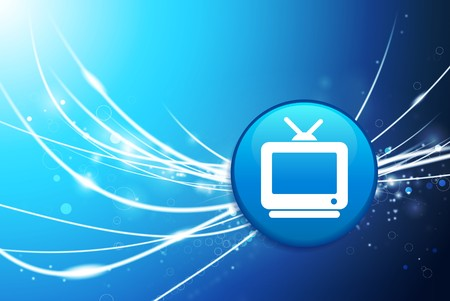 Television Button on Blue Abstract Light Background Original Illustration