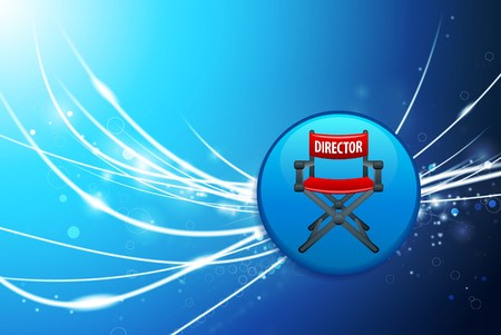 Director Chair Button on Blue Abstract Light Background Original Illustration illustration