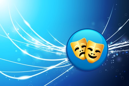 comedy: Comedy and Tragedy Button on Blue Abstract Light Background Original Illustration