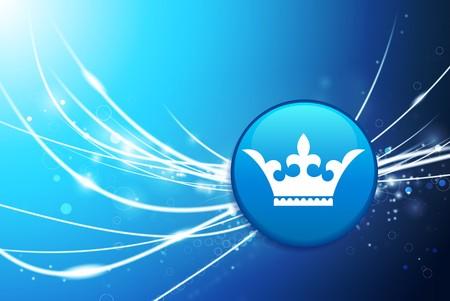 Crown Button on Blue Abstract Light Background Original Illustration illustration