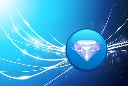 priceless: Diamond Button on Blue Abstract Light Background Original Illustration Stock Photo