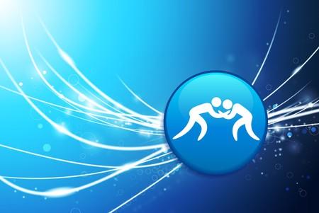 brawl: Wrestling Button on Blue Abstract Light Background Original Illustration
