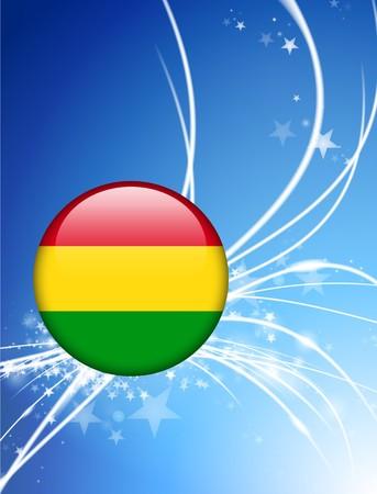 bandera de bolivia: Bot�n de bandera de Bolivia sobre fondo de luz Abstract Ilustraci�n original  Foto de archivo