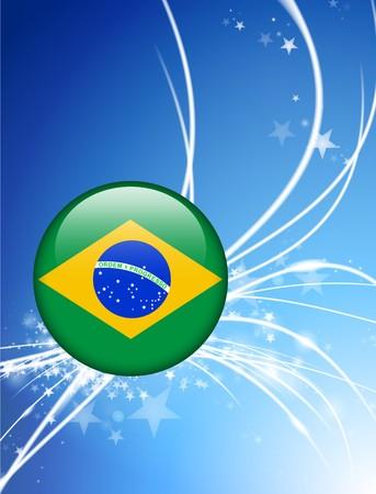 Brazil Flag Button on Abstract Light Background Original Illustration