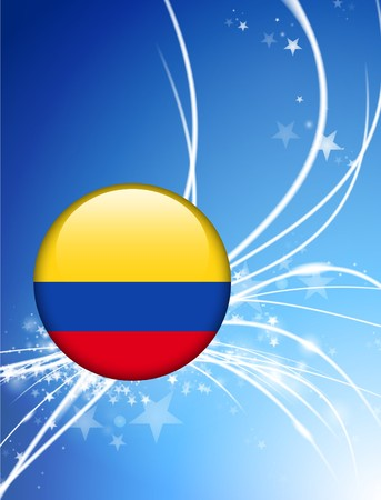 Colombia Flag Button on Abstract Light Background Original Illustration illustration