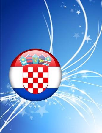 Croatia Flag Button on Abstract Light Background Original Illustration Imagens