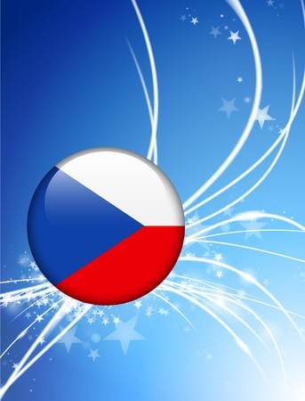 Czech Republic Flag Button on Abstract Light Background