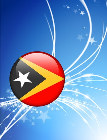East Timor Flag Button on Abstract Light Background Original Illustration illustration