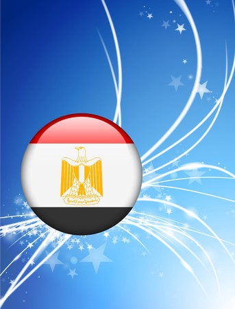 Egypt Flag Button on Abstract Light Background Original Illustration