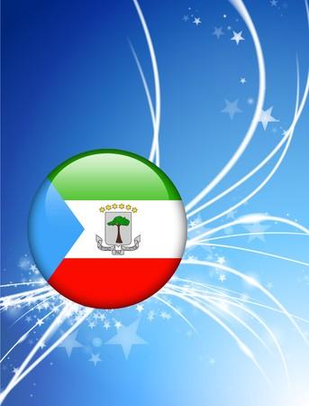 Guinea Ecuatorial bandera botón sobre fondo claro abstractoIlustración original
