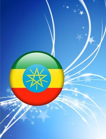 ethiopia abstract: Ethiopia Flag Button on Abstract Light Background Original Illustration