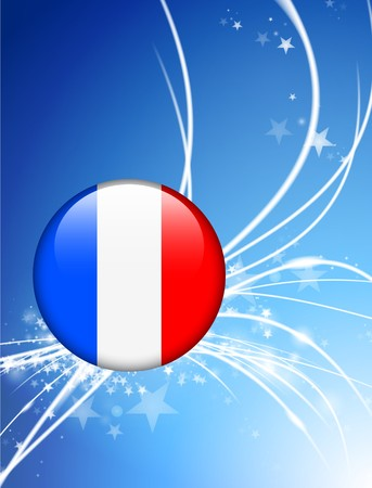 french flag: France Flag Button on Abstract Light Background Original Illustration