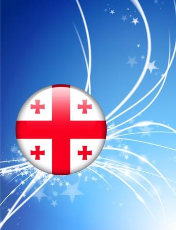 Georgia Flag Button on Abstract Light Background Original Illustration illustration