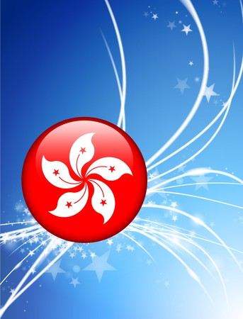 Hong Kong Flag Button on Abstract Light Background Original Illustration