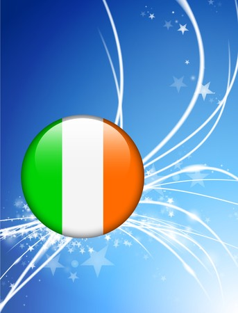 ireland flag: Ireland Flag Button on Abstract Light Background Original Illustration