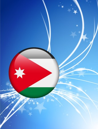 Jordanië Flag knop op Abstract Light Background Originele illustratie