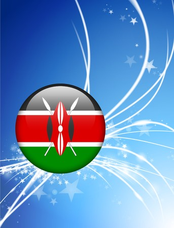 kenya: Kenya Flag Button on Abstract Light Background Original Illustration