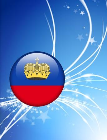 liechtenstein: Liechtenstein Flag Button on Abstract Light Background Original Illustration Stock Photo