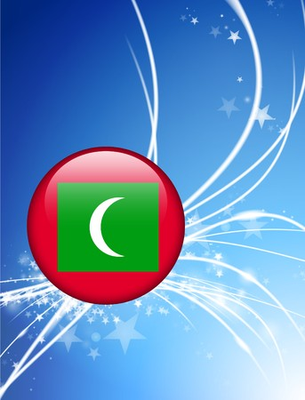 Maldives Flag Button on Abstract Light Background Original Illustration Stock Photo