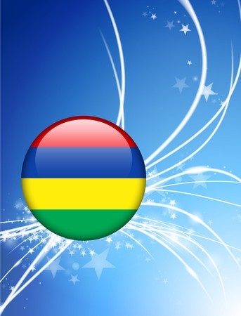 Mauritius Flag Button on Abstract Light Background Original Illustration Stock Photo