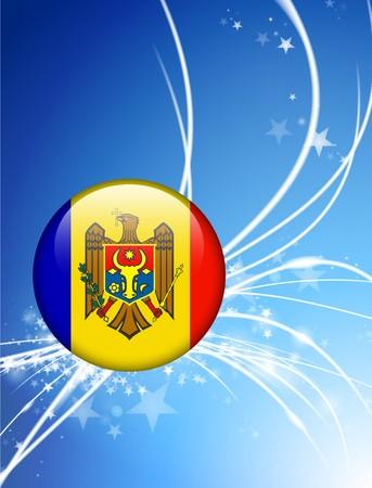 Moldova Flag Button on Abstract Light Background Original Illustration