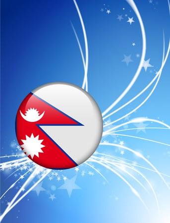 Nepal Flag Button on Abstract Light Background Original Illustration Фото со стока