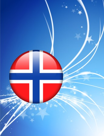 norway flag: Norway Flag Button on Abstract Light Background Original Illustration