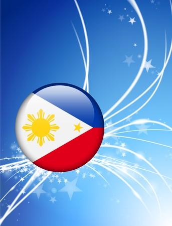 The Philippines Flag Button on Abstract Light Background Original Illustration Reklamní fotografie