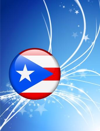 bandera de puerto rico: Bot�n de bandera de Puerto Rico sobre fondo de luz Abstract Ilustraci�n original  Foto de archivo