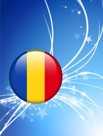Romania Flag Button on Abstract Light Background Original Illustration