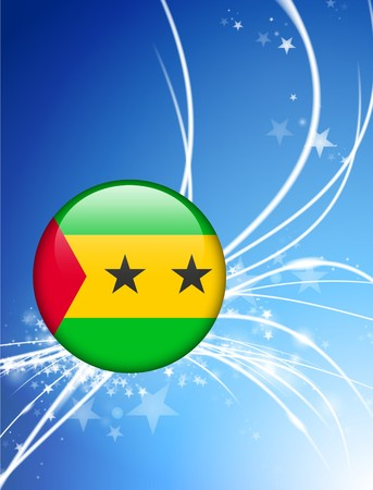 tome: Sao Tome Flag Button on Abstract Light Background Original Illustration