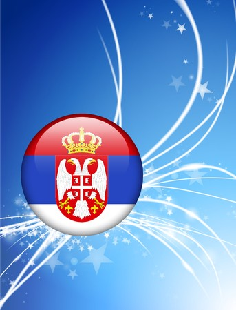 serbia: Serbia Flag Button on Abstract Light Background Original Illustration