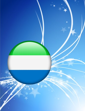 Sierra Leone Flag Button on Abstract Light Background Original Illustration illustration