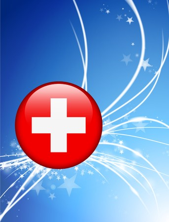 swiss flag: Switzerland Flag Button on Abstract Light Background Original Illustration Stock Photo