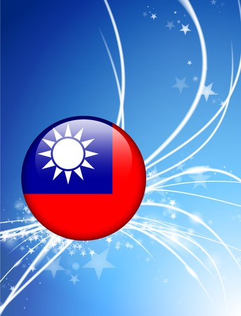 Taiwan Flag Button on Abstract Light Background Original Illustration
