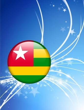 Togo Flag Button on Abstract Light Background Original Illustration illustration