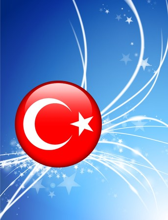 Turkey Flag Button on Abstract Light BackgroundOriginal Illustration Imagens