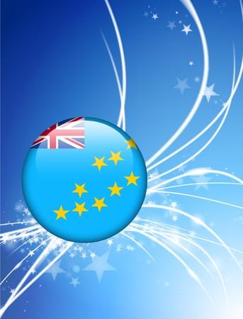 tuvalu: Tuvalu Flag Button on Abstract Light Background Original Illustration
