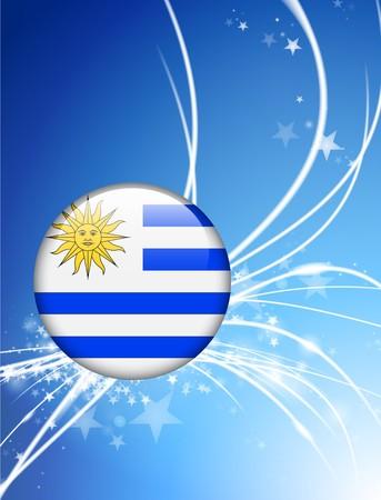 Uruguay Flag Button on Abstract Light Background Original Illustration Imagens