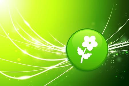 Flower Button on Green Abstract Light Background Original Illustration