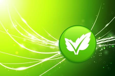 Leaf Button on Green Abstract Light Background Original Illustration Stock fotó