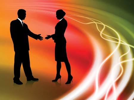 Business Couple on Abstract liquid Background Original Illustration illustration