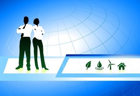 Business Couple on Internet Background with Nature Icons Original Illustration illustration