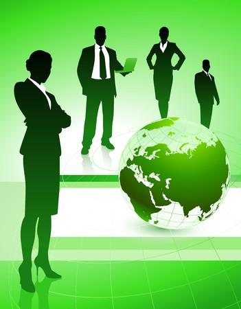Business Team with Globe on Abstract Background Original Illustration