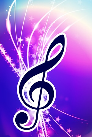 Musical Note on Abstract Light Background Original Illustration Stock Photo